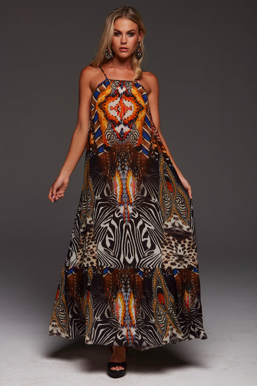 WILD LEOPARD SHOE-STRING MAXI DRESS