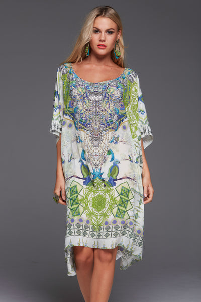 BIRDS OF PEACE ROUND-NECK SHORT KAFTAN