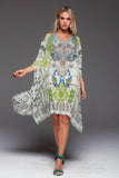 BIRDS OF PEACE SHORT KAFTAN WITH SLIT