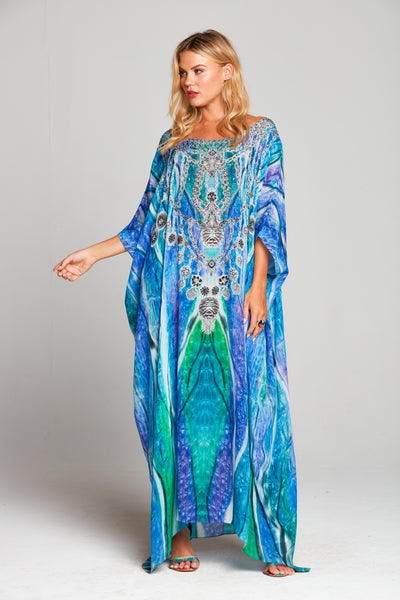 STAIRWAY TO HEAVEN ROUND-NECK LONG KAFTAN