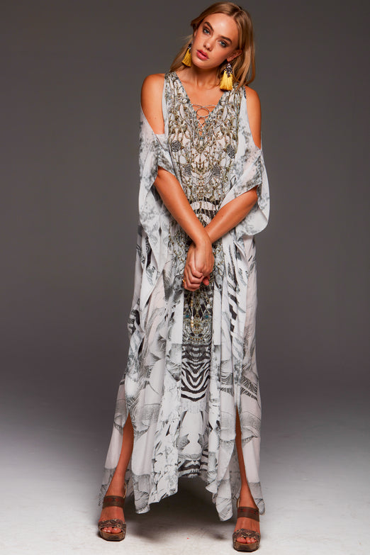 WHITE ZEBRA LONG KAFTAN W SLIT