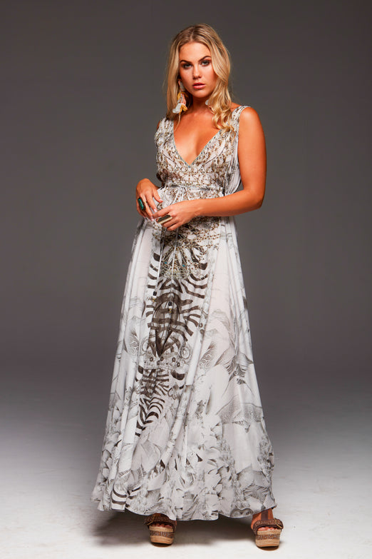 WHITE ZEBRA MAXI DRESS