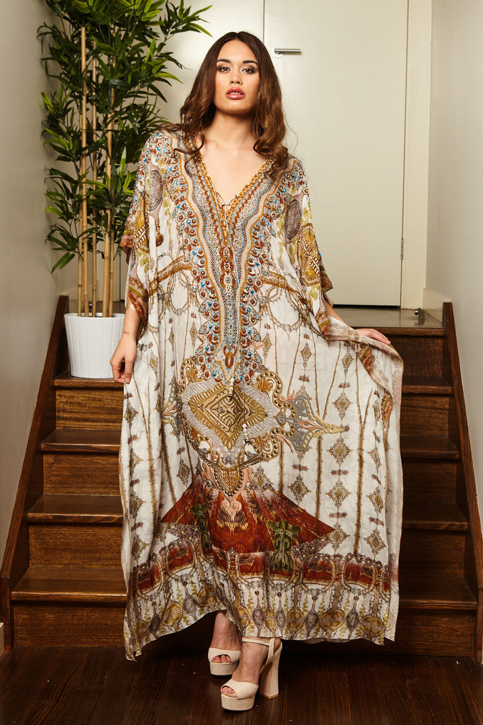 WHITE VINTAGE LONG KAFTAN