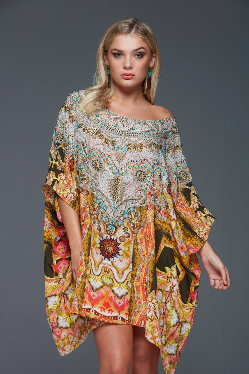 DANCE TO CELEBRATE ROUND-NECK SHORT KAFTAN - Czarina