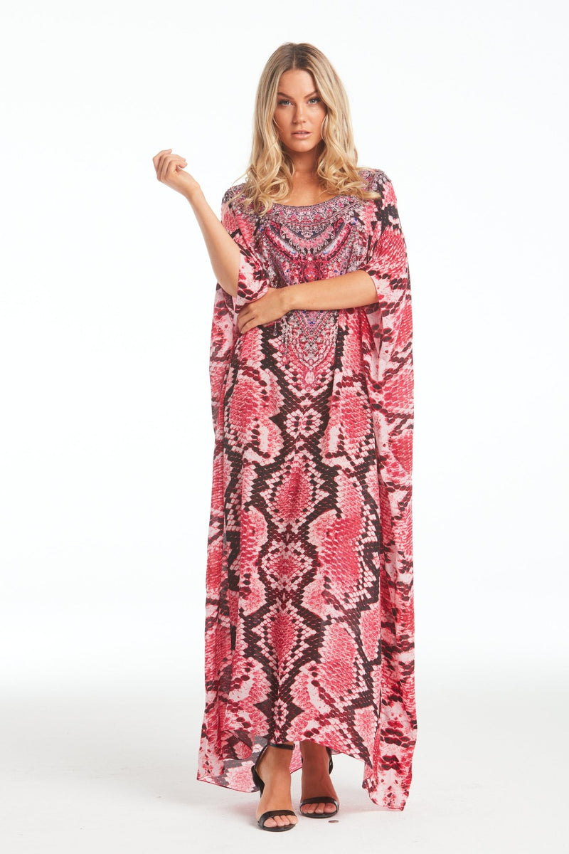 DESERT ROSE ROUND-NECK LONG KAFTAN - Czarina