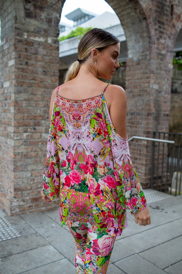 Every Flower Blossoms Cold Shoulder Frill Top - Czarina