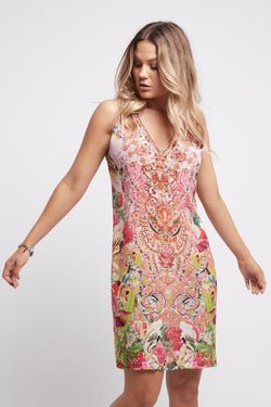 Every Flower Blossoms V-Neck Short Dress - Czarina