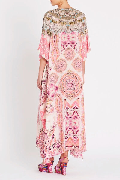 BOHEMIAN BLUSH V NECK SILK LONG KAFTAN