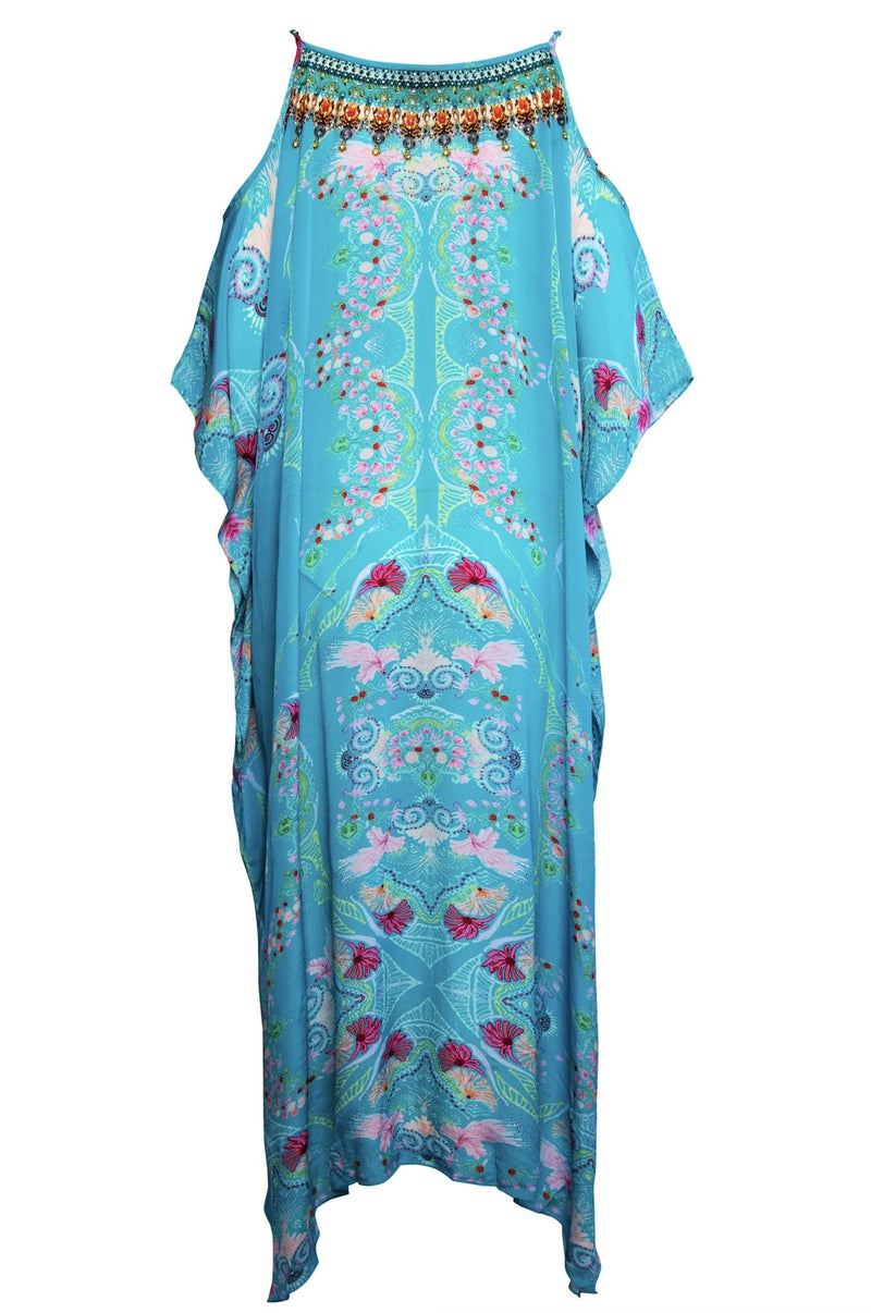 FEEL THE SKY COLD-SHOULDER MEDIUM KAFTAN - Czarina