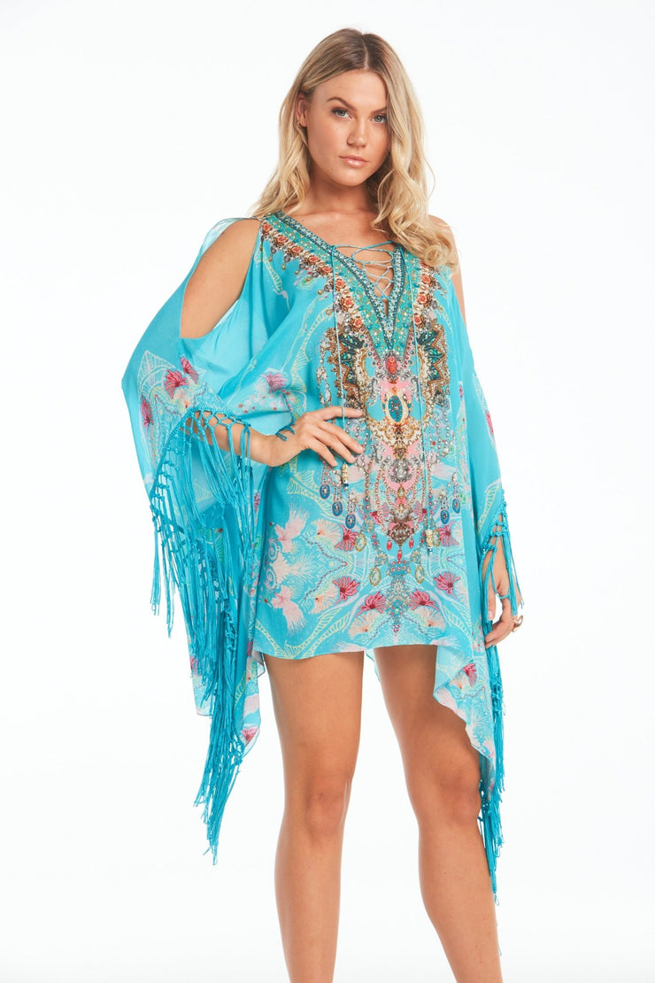 Feel The Sky Kaftan Top W Fringe - Czarina