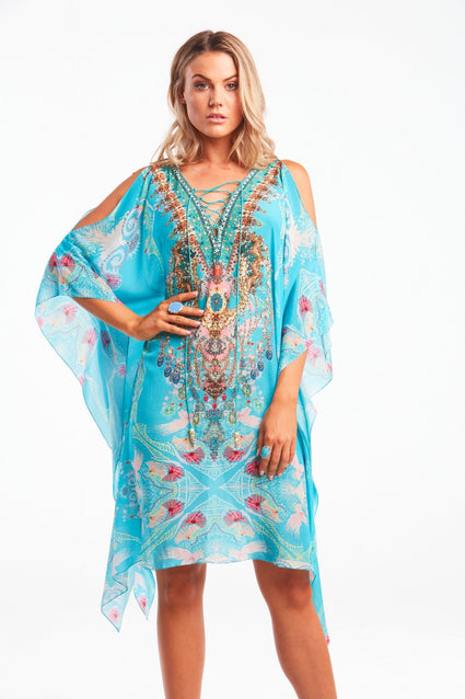 Feel The Sky Short Kaftan W Slit - Czarina