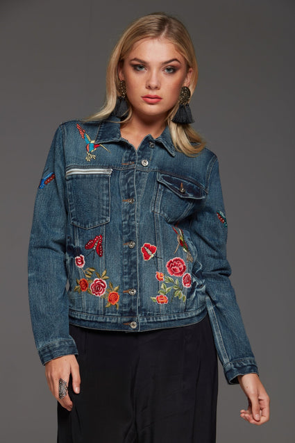 FLORAL EMBROIDERED DENIM JACKET - Czarina