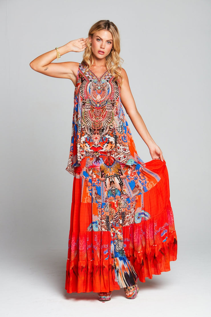 FORBIDDEN TEMPLE MAXI SKIRT - Czarina