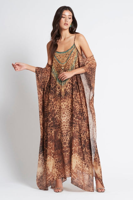 GAIA COLD-SHOULDER LONG KAFTAN - Czarina