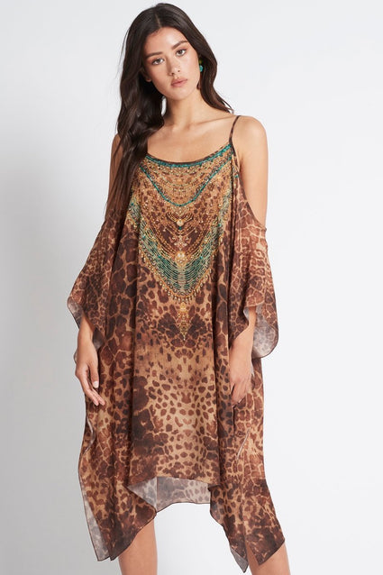 GAIA COLD-SHOULDER SHORT KAFTAN - Czarina