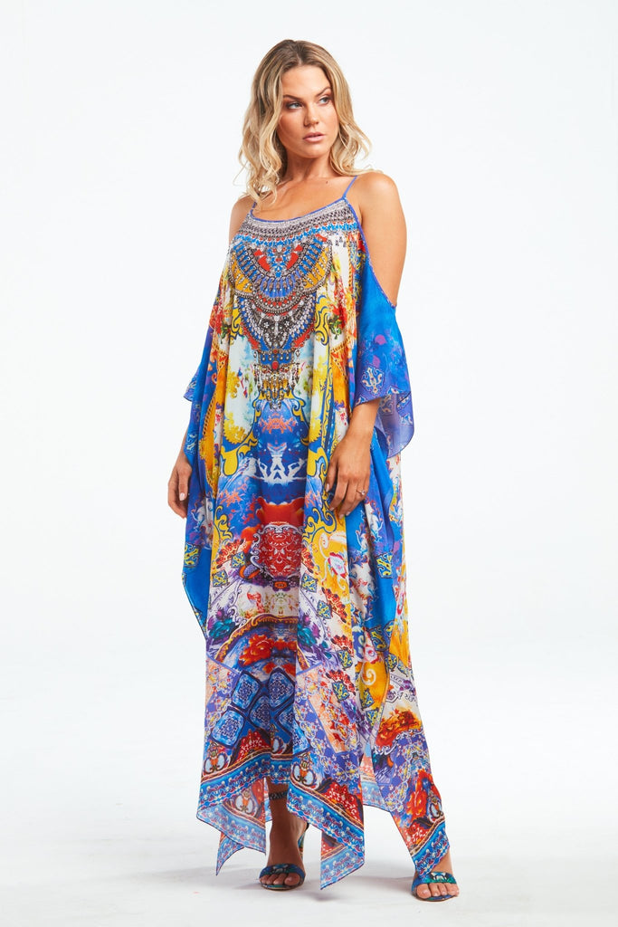 LIVE IN THE MOMENT COLD-SHOULDER LONG KAFTAN - Czarina