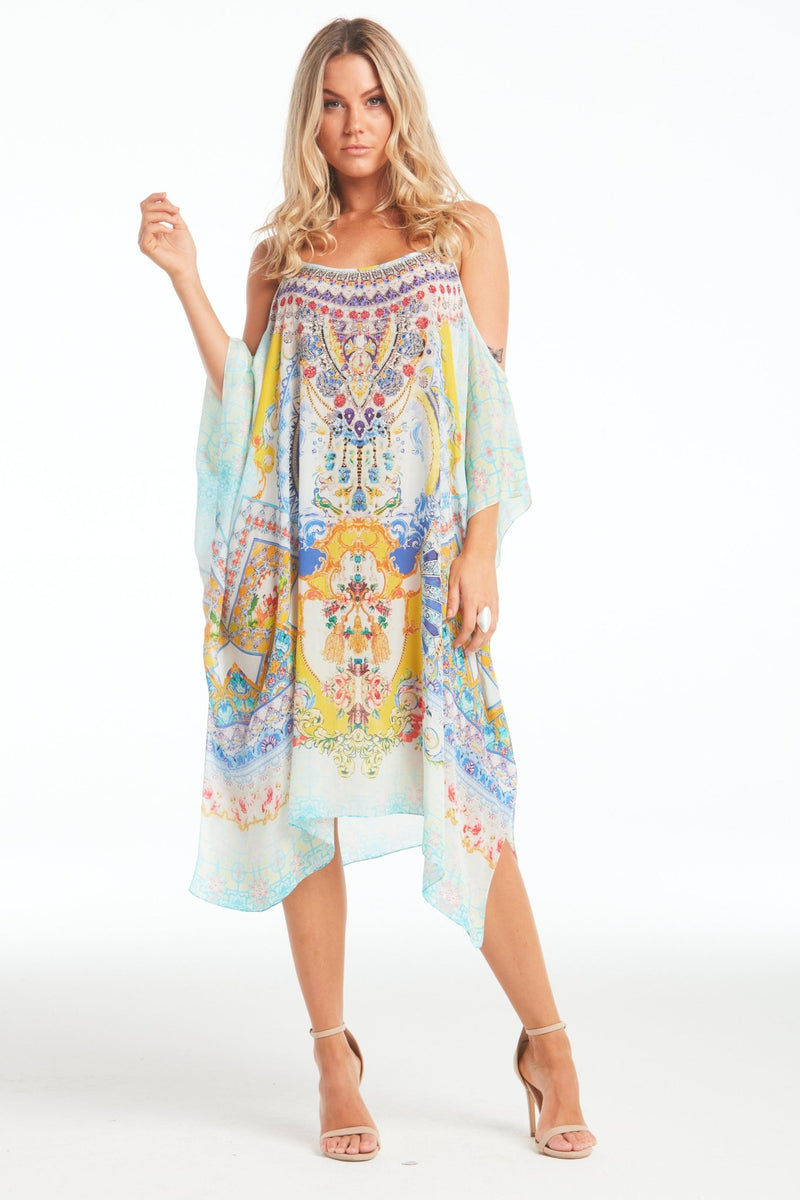 LOVE IN SANTORINI COLD-SHOULDER SHORT KAFTAN - Czarina