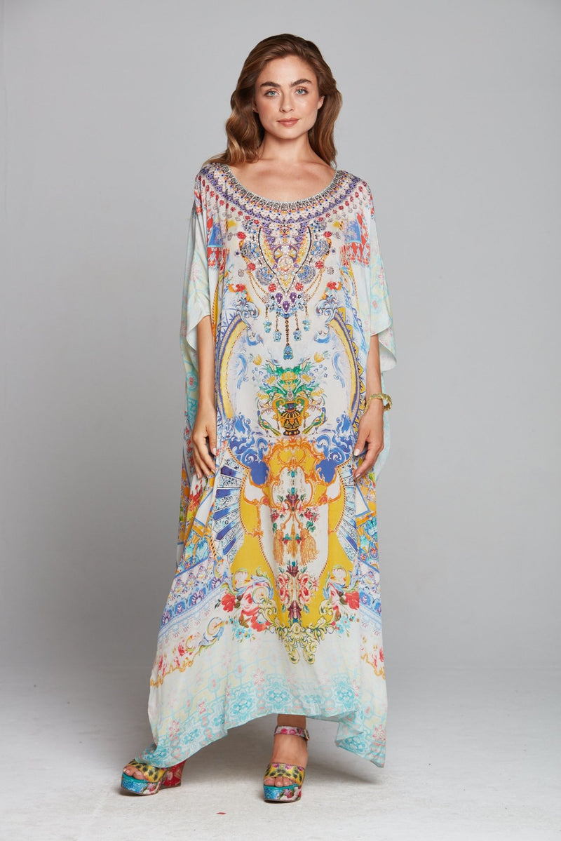 LOVE IN SANTORINI ROUND NECK LONG KAFTAN - Czarina