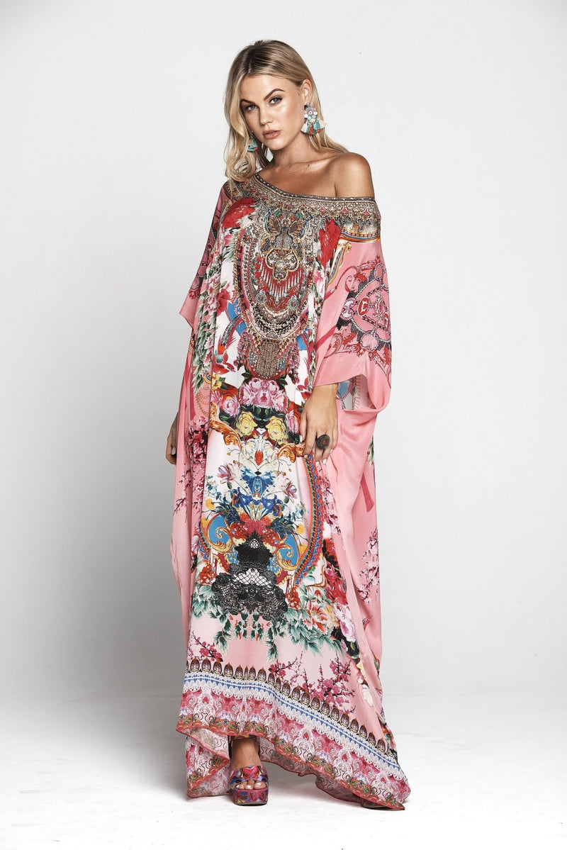 MORE THAN FRIENDS ROUND-NECK LONG KAFTAN - Czarina