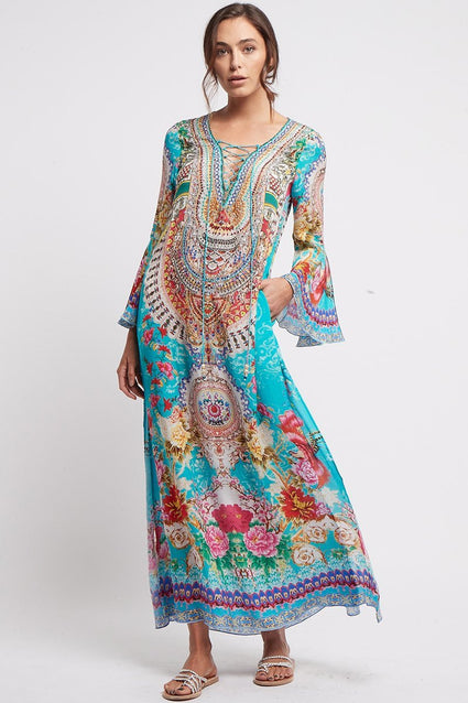 ONCE IN A BLUE MOON MAXI DRESS W SLEEVES - Czarina