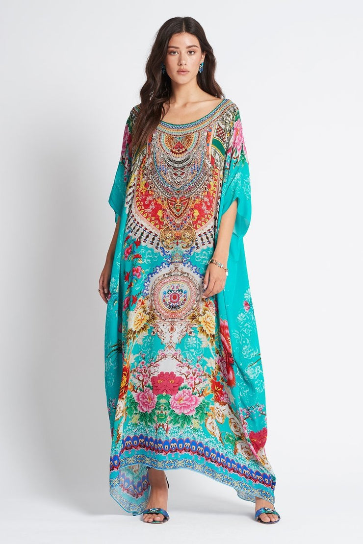 ONCE IN A BLUE MOON ROUND-NECK LONG KAFTAN - Czarina