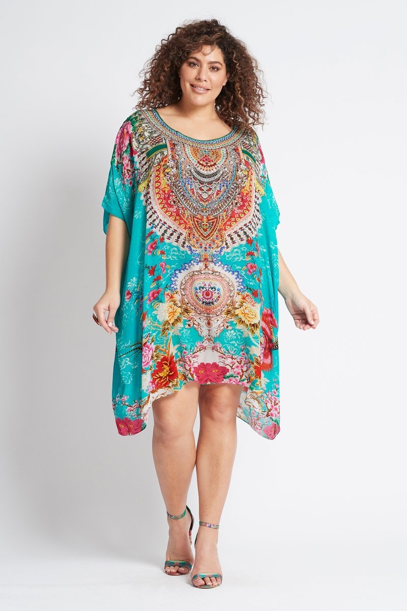 ONCE IN A BLUE MOON ROUND-NECK SHORT KAFTAN - Czarina