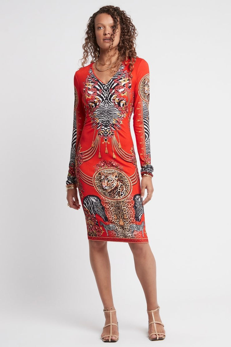 POWER AND PASSION MIDI DRESS W SLEEVES - Czarina