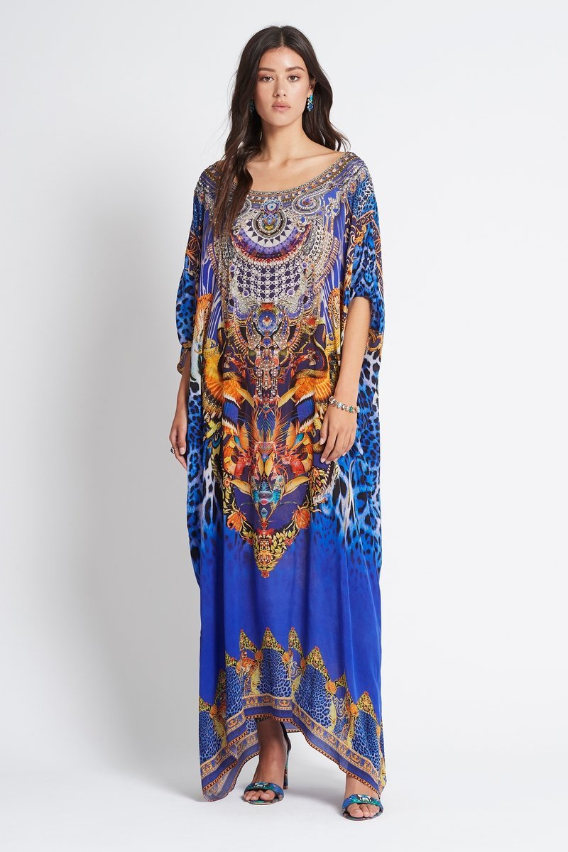 ROYAL SAVANNAH ROUND-NECK LONG KAFTAN - Czarina