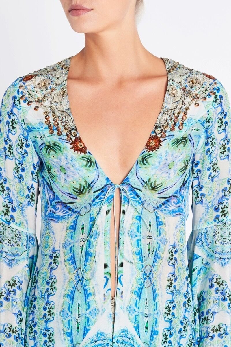 SHE'S A WILDFLOWER FLUTED SLEEVE JACKET - Czarina