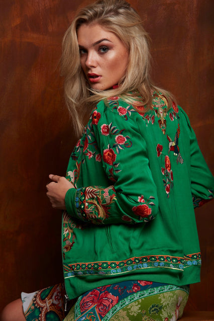 SIMPLY GREEN EMBROIDERED BOMBER JACKET - Czarina