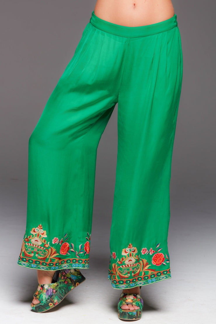 SIMPLY GREEN EMBROIDERED PALAZZO PANTS - Czarina