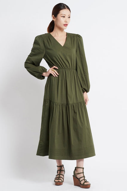 SIMPLY OLIVE V-NECK LONG DRESS W SLEEVES - Czarina