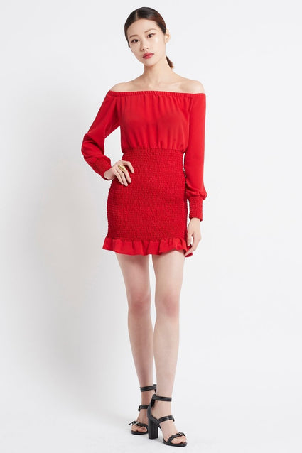 SIMPLY RED OFF SHOULDER SHORT DRESS - Czarina
