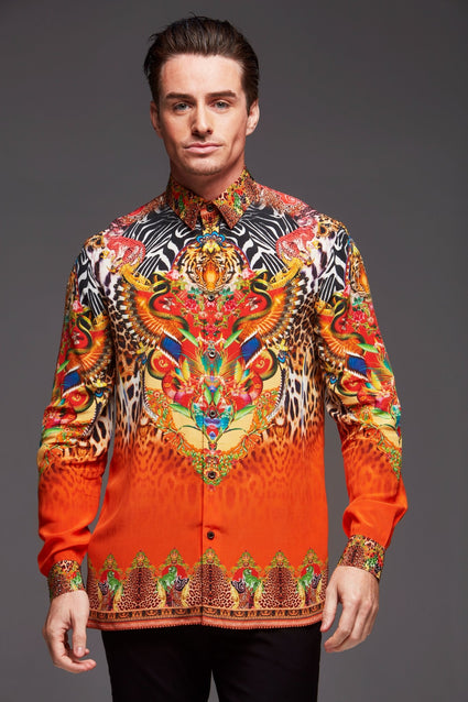 Sunset In Savannah Silk Men's Shirt - Czarina