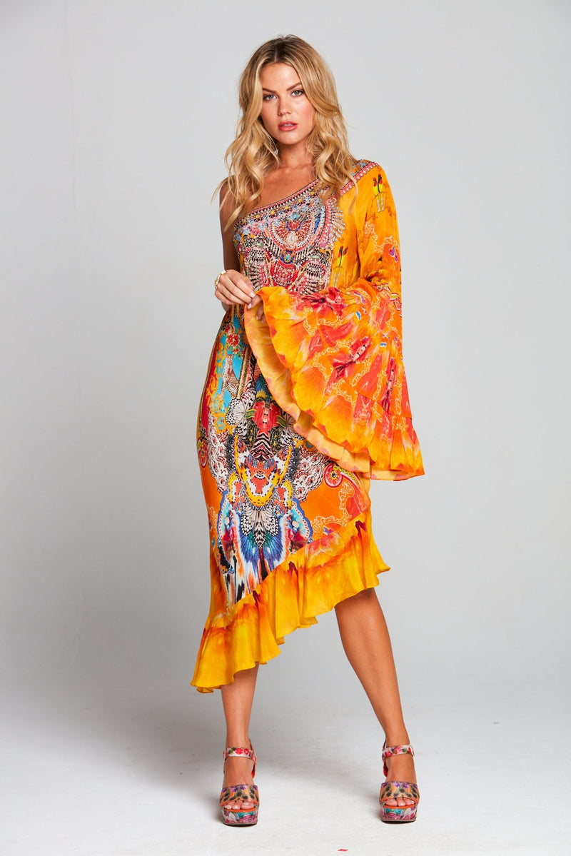 SUNSET KISSES ONE SHOULDER DRESS - Czarina