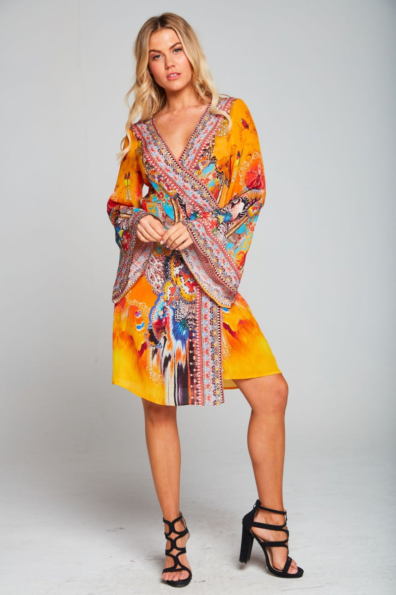 SUNSET KISSES SHORT WRAP DRESS - Czarina