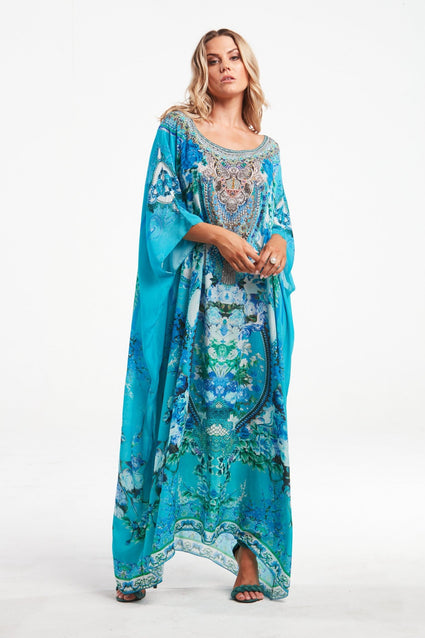 THOSE BLUE EYES ROUND-NECK LONG KAFTAN - Czarina