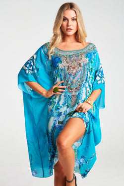 THOSE BLUE EYES ROUND-NECK SHORT KAFTAN - Czarina