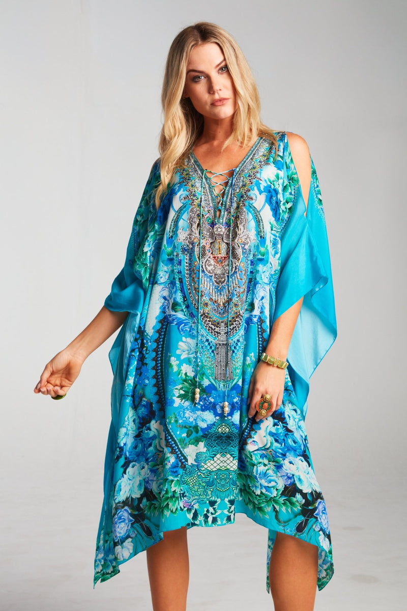 THOSE BLUE EYES SHORT KAFTAN W SLIT - Czarina