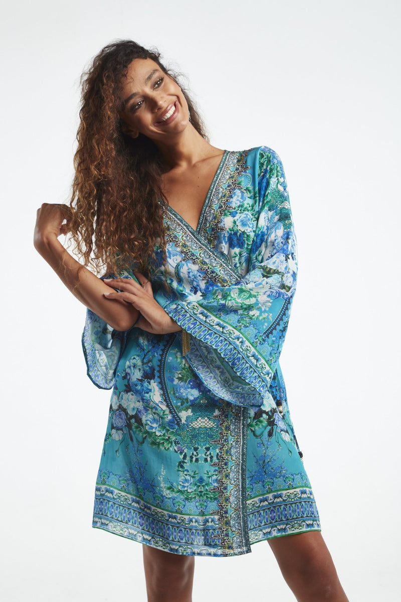 THOSE BLUE EYES SHORT WRAP DRESS - Czarina