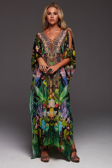 TROPICAL LOVE LONG KAFTAN W SLIT - Czarina
