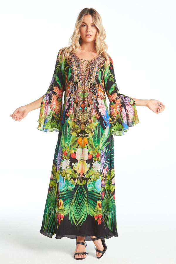 TROPICAL LOVE MAXI DRESS W SLEEVES - Czarina
