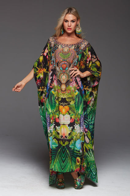 Tropical Love Round-Neck Long Kaftan - Czarina