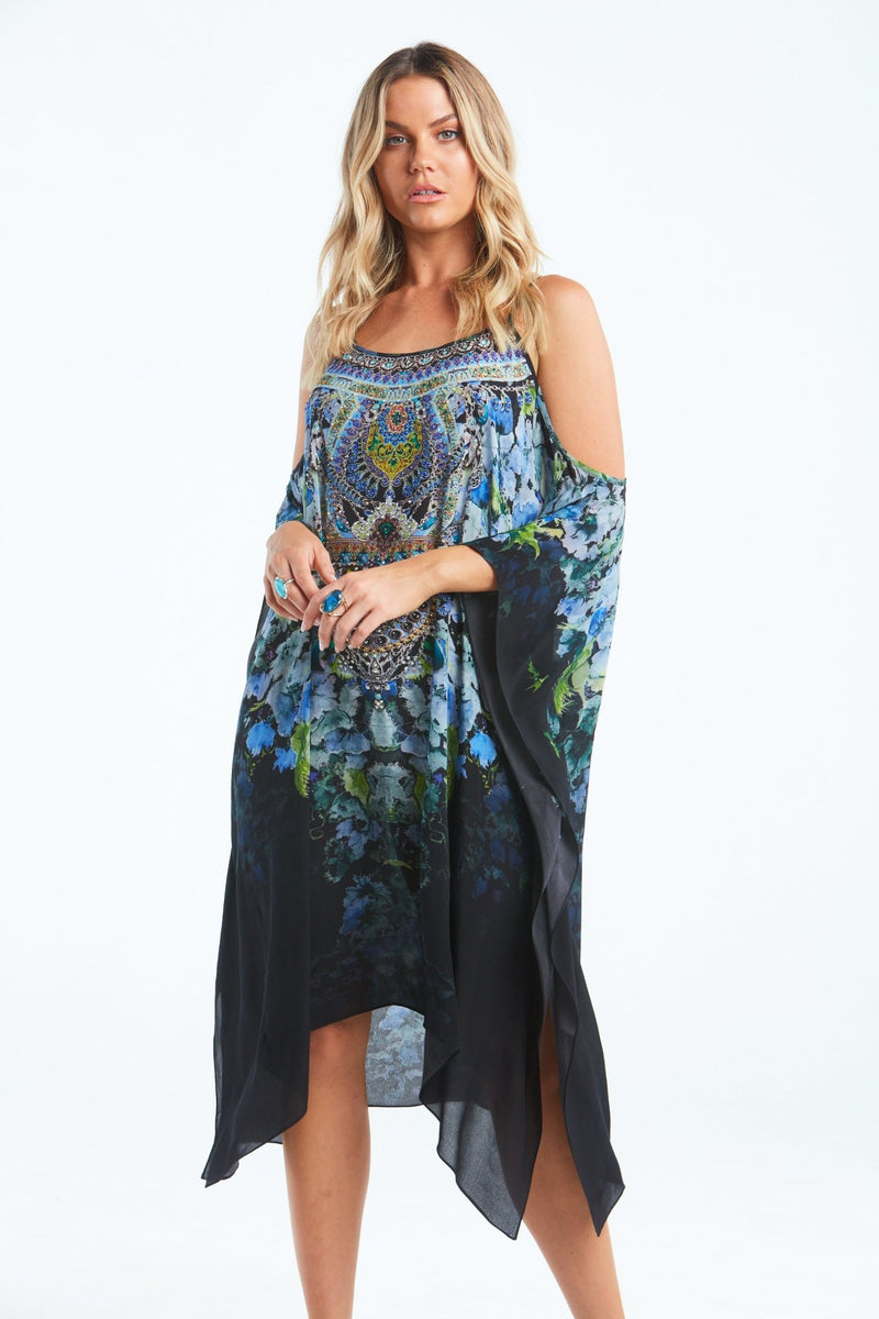 TRUE REFLECTIONS COLD-SHOULDER SHORT KAFTAN - Czarina