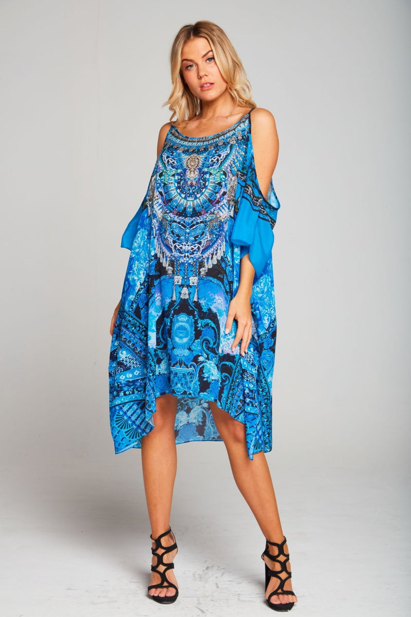 UNFORGETTABLE COLD-SHOULDER SHORT KAFTAN - Czarina