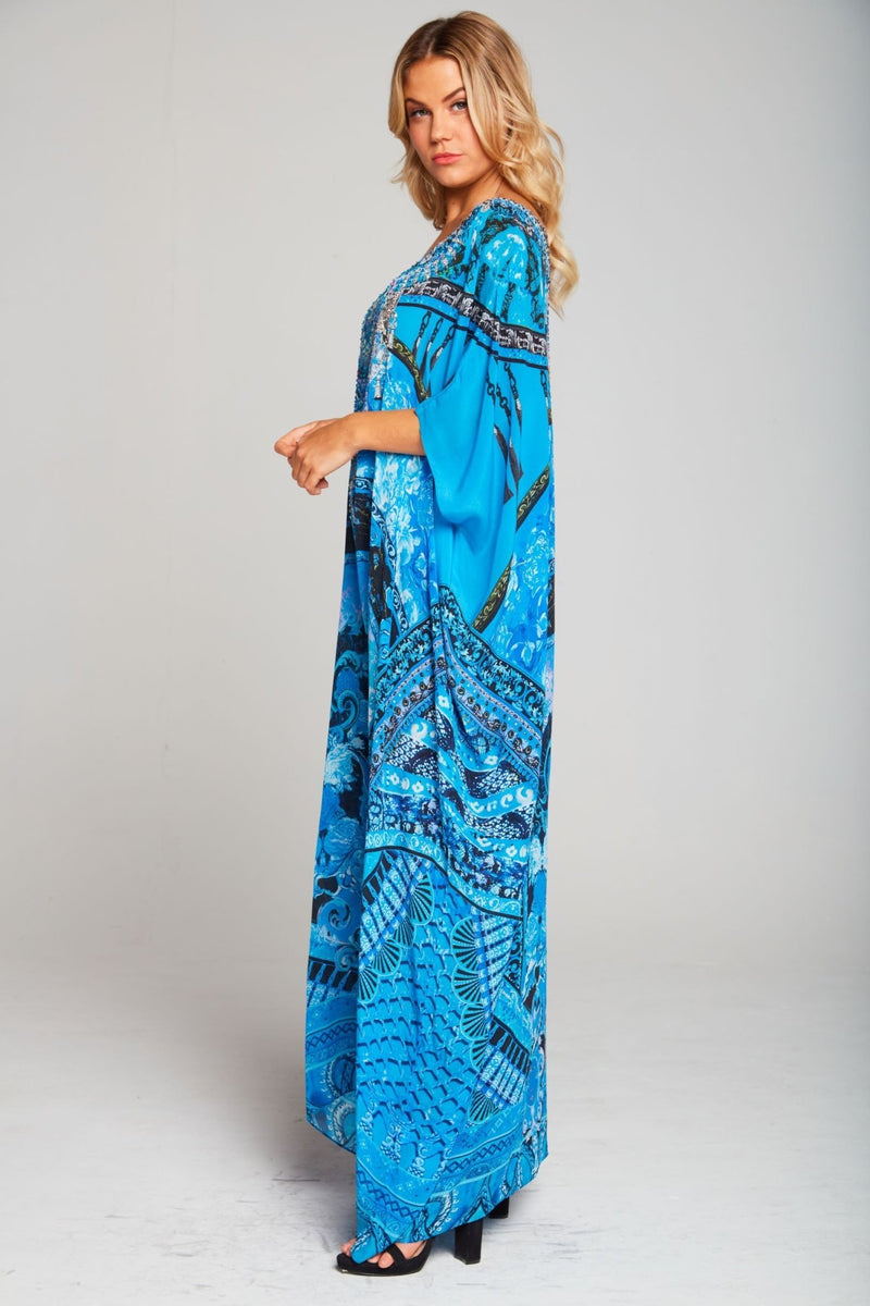 UNFORGETTABLE ROUND-NECK LONG KAFTAN - Czarina