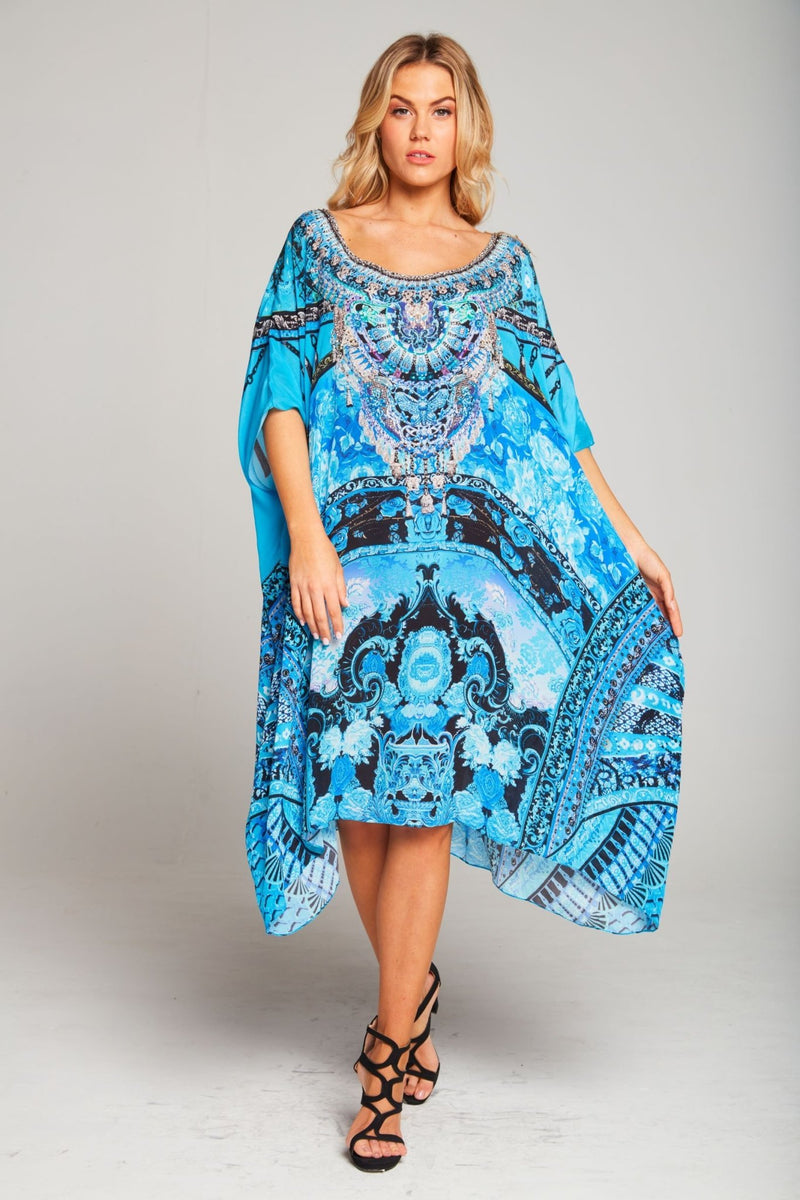 UNFORGETTABLE ROUND-NECK SHORT KAFTAN - Czarina