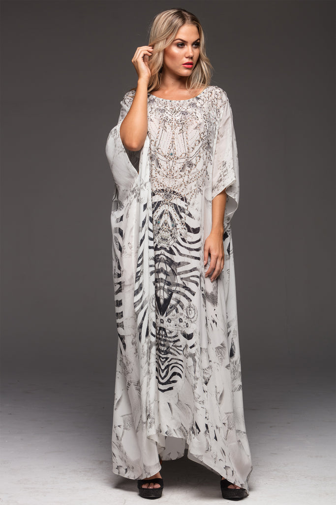 WHITE ZEBRA ROUND-NECK LONG KAFTAN