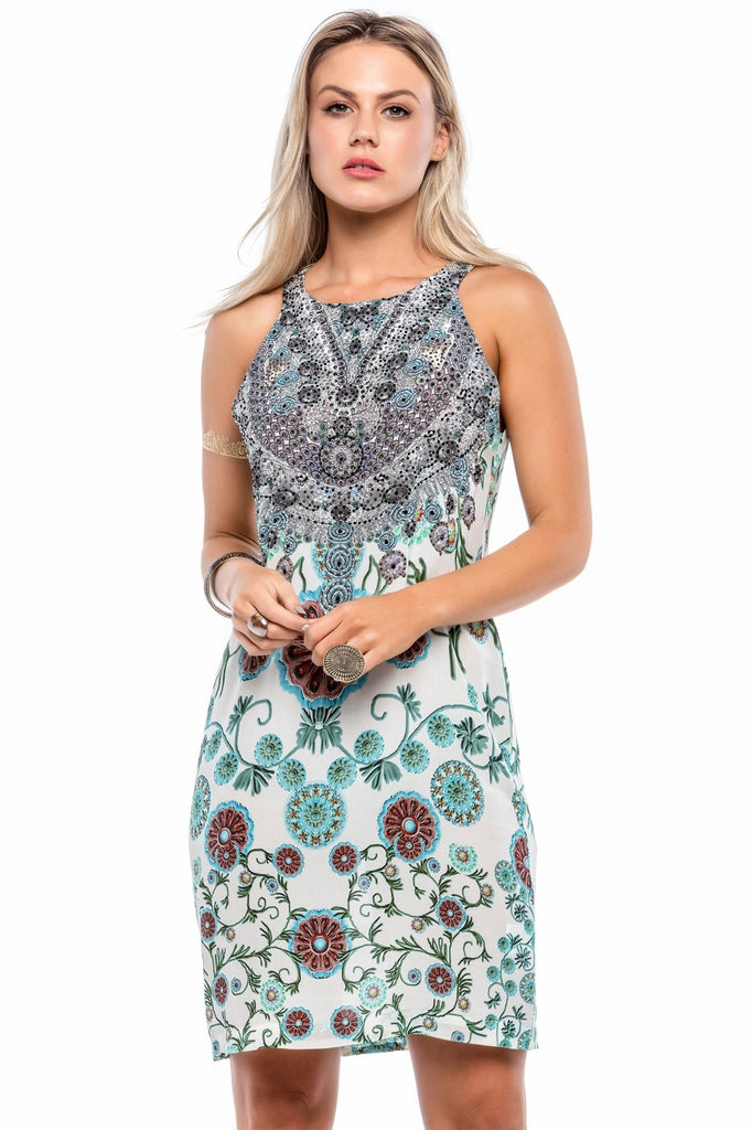 WHITE MILLEFORI ROUND-NECK SHORT DRESS - Czarina