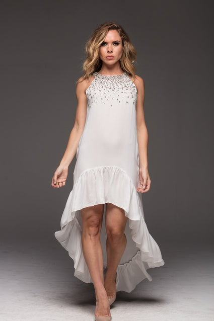 WHITE PEARL ROUND-NECK HI LOW DRESS - Czarina